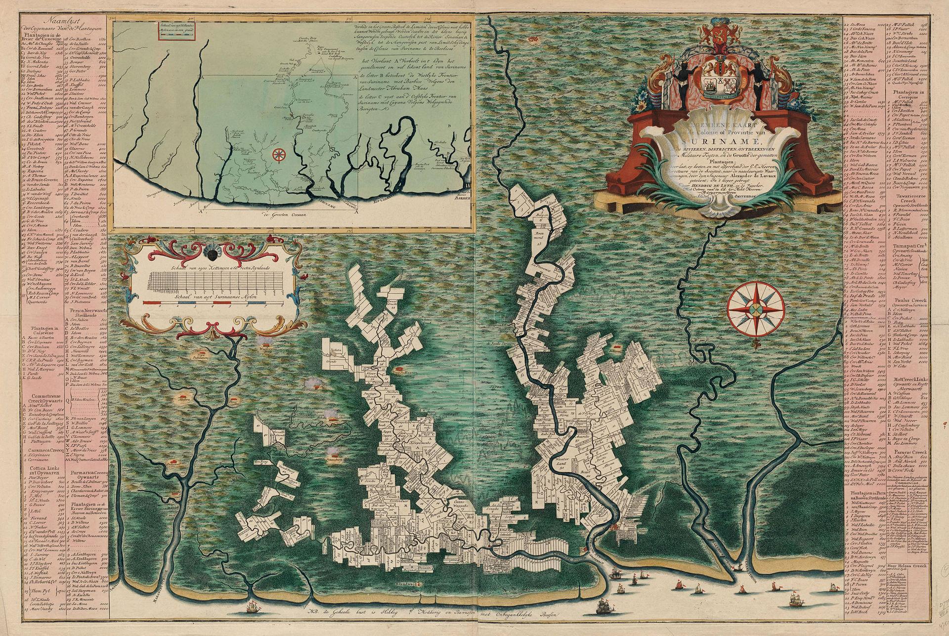 Algemene kaart van Suriname, Alexander de Lavaux, Hendrik de Leth, Directeurs van de Sociëteit van Suriname, 1737, Rijksmuseum.